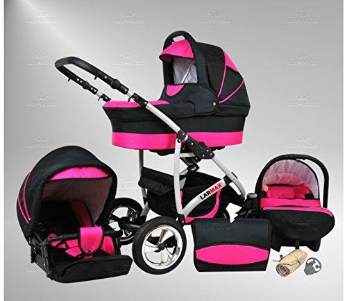 True Love Larmax Kinderwagen Komplettset (Autositz & Adapter, Regenschutz, Moskitonetz, Schwenkräder) 53 Comsic Black & Pink