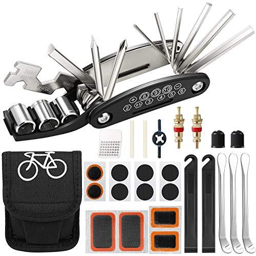 Fahrrad Multitool, 16-in-1 Multifunktionswerkzeug mit Flick-Kit und Reifenhebern, Fahrrad-Reparatur-Set, Fahrradzubehör, kein Kleber erforderlich