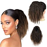 Curly Drawstring Ponytail Extension for Black Women, Sidaila 10 Inch Short Corn Wavy Ponytail Clip in pony tails hair extensions for African American Women (1B)