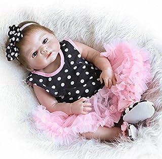 Pinky Reborn Baby Dolls 18 Pulgadas 45cm Muñecas Renacer Bebé Cuerpo Entero Silicona Realista Suave de Vinilo Realista Chica Bebé Reborn Niña Nacido Regalo de Juguete (Black)