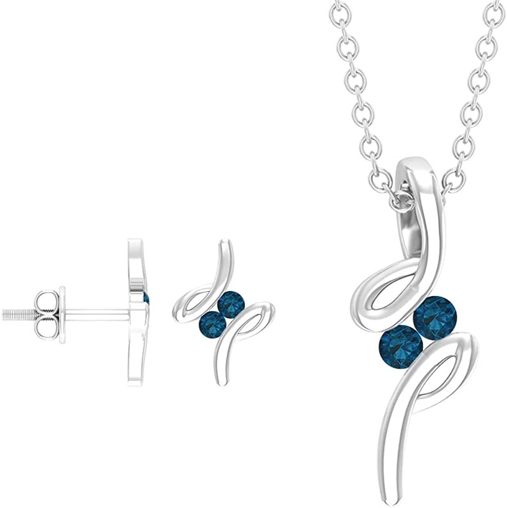 1/3 CT London Blue Topaz Jewelry Set, Gold Necklace Earring, Birthstone Earring and Necklace, Gemstone Charm Necklace, Drop Pendant Gift (AAA Quality)