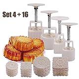 4Sets Mondkuchen Form Press 50g/100g mit 16Briefmarken, afybl Blume Rund quadratische Form Dekoration Werkzeug für Backen DIY Cookie–weiß