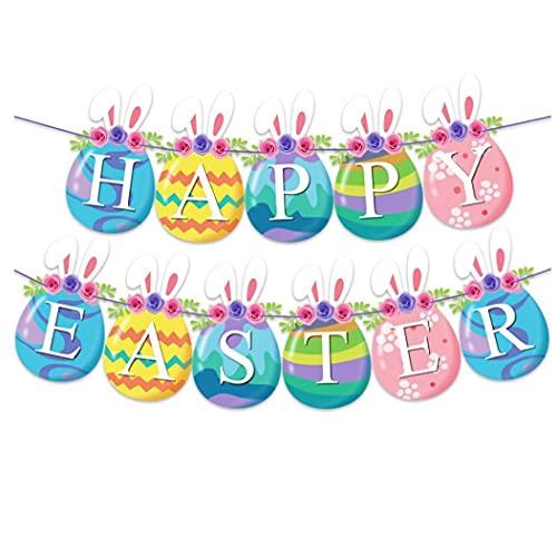 Ohomr Garland Pascua Kit de Papel de Pascua Banderas temáticas Que cuelga la decoración del hogar de Pascua Fiestas de cumpleaños