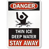 アルミメタルノベルティ危険サインインチ、危険:薄い氷の深海は離れて滞在、カフェバーパブホームビール装飾工芸品レトロヴィンテージサインのための錫サインヴィンテージ壁の装飾