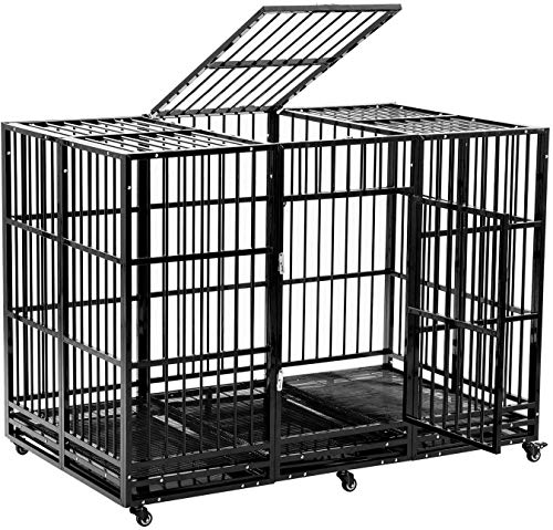 walnest 63'' Black Dog Crate Large Heavy Duty Dog Cage Kennel Double Door Pet Cage w/Metal Tray Wheels Exercise Playpen Playpens