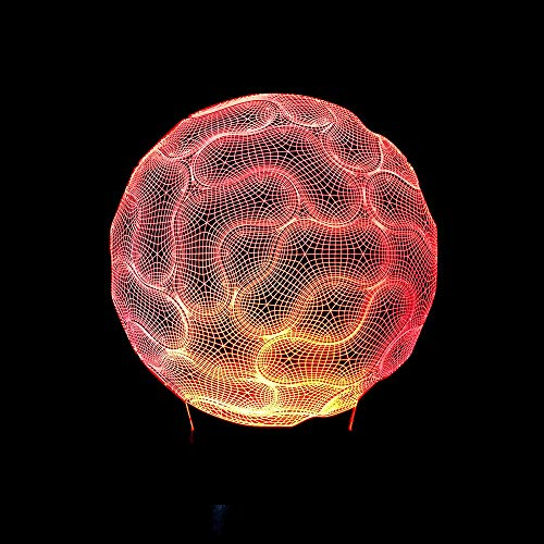 Childrens Night Light, LED Night Light Brain Vision 3D Optical Illusion Lamp, Birthday Christmas Gifts for Kids, 16 Colors Dimmable Remote Control USB Powered Bedside Table Lamp