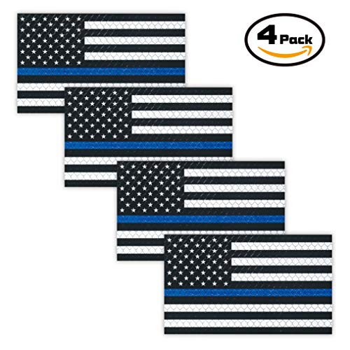 """ADV-MARKET 4 Pack Reflective Magnetic American US Flag Sticker Sign Bumper 2""""x3"""" Thin Blue Line Stripe Black Decal Trucks Car SUV Fridge Support Police Law Enforcement Officers Safety"""