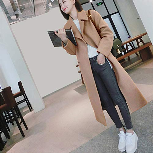 ZKYOP Frauen Mantel Plus Size Casual Korean Style Herbst Slim Long Coat Damen Full Sleeve Pocket Wool Massive Cardigan CoatsFrühling und Herbst