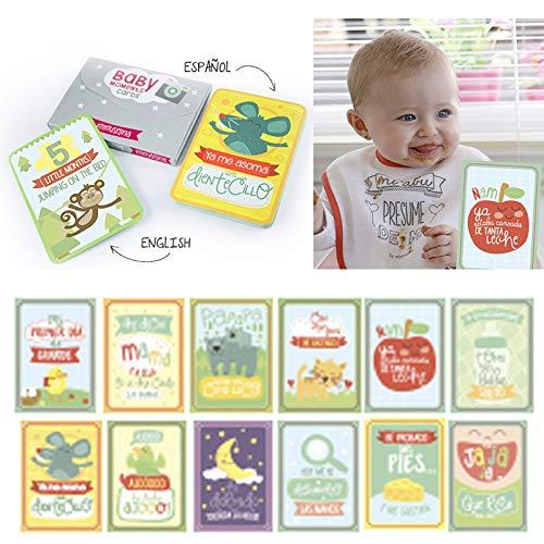 BabyMoments Cards by Mimuselina | Tarjetas de Logros e Hitos del Bebé, Regalo Original para Recién Nacidos, Bilingüe: Español-English, Fotografías Originales Meses Bebé, Tarjetas Cumplemes bebés