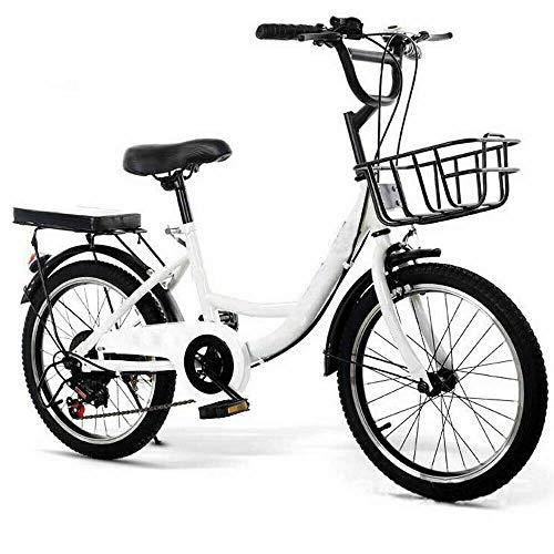 20 Zoll Fahrrad Kinderfahrrad Jungen&Mädchen Fahrräder Kohlenstoff Stahl mit Korb (Weiß)