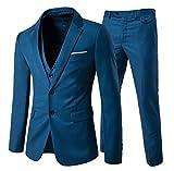 Traje de 3piezas con chaqueta, chaleco y pantalones, hombre, de cuadros, ajuste moderno Blue 2 3XL