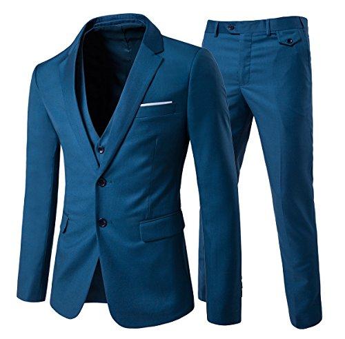 Traje de 3piezas con chaqueta, chaleco y pantalones, hombre, de cuadros, ajuste moderno Blue 2 Large
