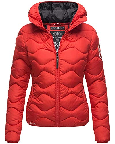 Navahoo Damen Steppjacke Winter Jacke Kurz Stepp Kapuze Outdoor B809 [B809-Key-Rot-Gr.XL]