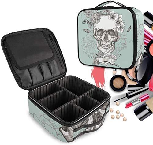 Cosmétique HZYDD White Skull Flower Make Up Sac Trousse de Toilette Zipper Sacs de Maquillage Organisateur Poche for Compartiment Femmes Filles Gratuit
