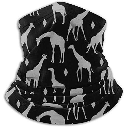 Hui-Shop Geo Jirafas Gris Negro Cuello Calentador Polaina para Hombres Mujeres Diadema Cara m-Ask Bufanda Sombreros Invierno pasamontañas