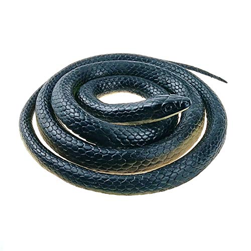 Nakimo Realistic Rubber Fake Snake Toy 50 Inch Black Mamba for Garden Props and Practical Joke
