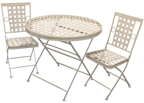 Maribelle Folding Metal Outdoor Garden Patio Dining Table And 2 Chairs Set