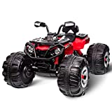 Costzon Ride On ATV Quad, 12V 4-Wheeler Kids Electric Vehicle Car, ATV Quad with High/Low Speed, Auxiliary Input, Horn Sound, Battery Powered, for Boys & Girls