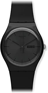 Swatch Unisex Black Dial Silicone Band Watch - SUOB702