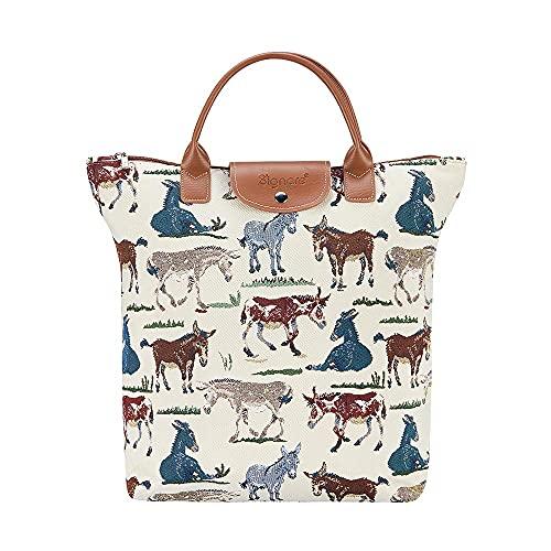 Signare Tapiz plegable bolsa de compras reutilizable con diseño de animales y mascotas, color, talla Talla única