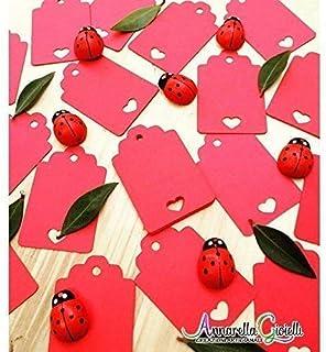 50 pezzi, Cartellini cuore rosso vuoti per matrimoni, 3x4,6 centimetri, carte regalo, tag fai da te, etichetta bagagli, et...
