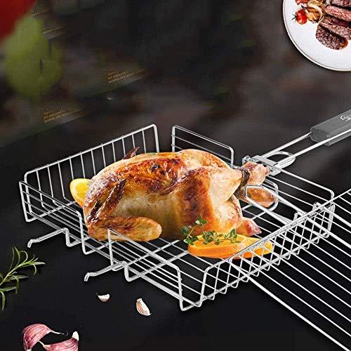 51BnySTQRLL - Grillkorb Antihaft-Rechteck-Grillrost Faltbar Edelstahl-Grill Grill Gemüsekorb-Set mit Holzgriff Grillzubehör Werkzeuge lili