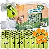 Bolsas de caca de perro orgánicas con dispensador Bolsas de caca de perro compostables con dispensador 100% biodegradables con correa (750 bolsas: 50 rollos + 2 dispensadores)