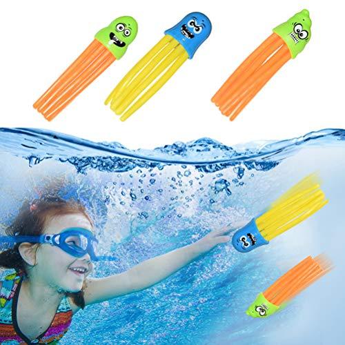 Kuashidai 3 juguetes de buceo de pulpo para piscina, juguete de verano, juguete de lanzamiento de cohetes, algas marinas para el juego de buceo para padres y niños (color al azar)