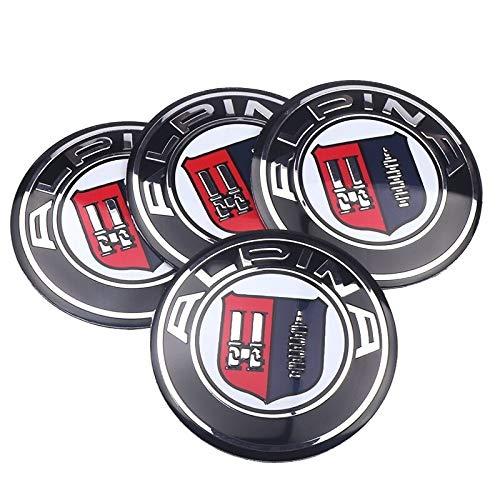 Tapas Para Llantas Estilismo de automóviles 4pcs 56mm Coche Emblema de la rueda de la rueda de la rueda del centro de la tapa del centro calcomanías compatibles con BMW Alpina E46 E39 E90 E60 E36 F30