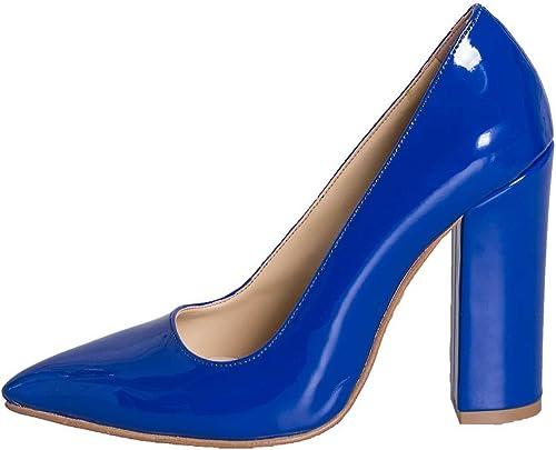 Chaussure Femme Vernis Bleu Taille Nombre 40Talon 10cm 10cm Fabriqué en Italie étude créations evb-03  dans les promotions de stade