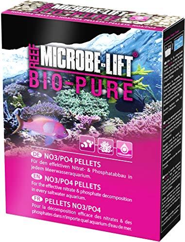 MICROBE-LIFT Bio-Pure Granulés No3/Po4 Bio/Idéaux pour Une Utilisation dans Tous Les Aquariums d'eau de Mer/Matériel de Filtration pour la Réduction des Nitrates/Phosphates 350 g