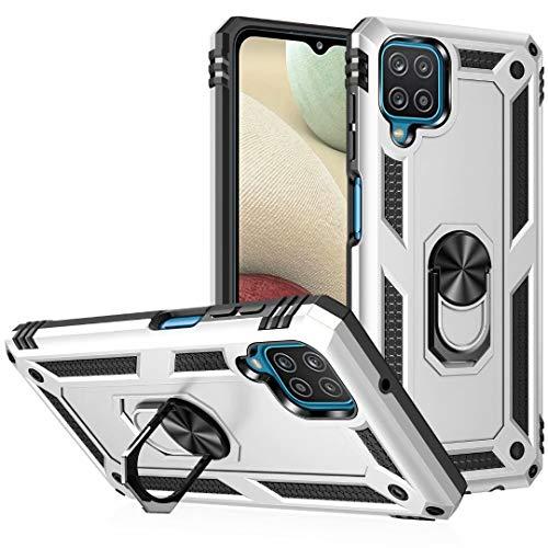 JIAFEI Funda Compatible con Samsung Galaxy A12, Robusta Caja Híbrida PC + TPU de Doble Capa Carcas, Plata