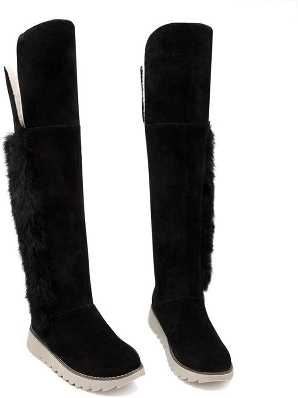 Hoxekle Women Snow Boots Winter Ladies Suede Fashion Flat Heels Women shoes Knee High Boots Fur Warm Snow Boot