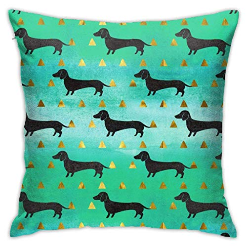 Hdadwy Soft Decorative Square Throw Pillow Covers Black Sausage Dog Cushion Cases Pillowcases for Sofa Bedroom Car 18 X 18 Inch No Pillow Insert