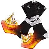 Chaussettes chauffantes pour Hommes, Chaussettes chauffantes, Batterie Rechargeable pour Sports d'hiver arthrite Raynaud Hiver Neige Ski Chasse Camping randonnée à Chaud (Black/Grey, M)