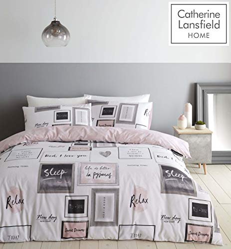 Catherine Lansfield Sleep Dreams - Set copripiumino per letto matrimoniale, facile da pulire, colore: Fard