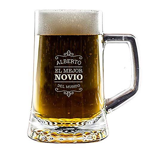Regalo Personalizado para Novios: Jarra de Cerveza para 'El Mejor Novio del Mundo' grabada con su Nombre