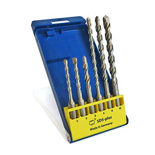 S&R Professional Hammerbohrer, SDS Bohrer Set, Bohrer SDS Plus für Beton, Granit, Stein. Bohrer für Bohrhammer. MADE IN GERMANY (Set 6-tlg.: Ø 5/6/8/6/8/10mm))