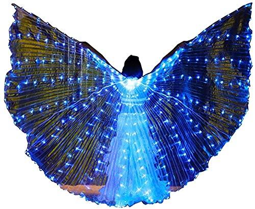 wsbdking DIRIGIÓ ISIS Wings ADULTURADOR ADULTIVO IRIDESCENTE Danza Danza Danza Buenca Danza DIRIGIÓ Alas de ISIS con Palos/Varillas (Color: luz Azul)