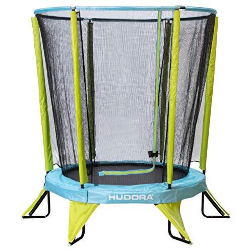 Hudora Kindertrampolin Safety 140 Cama elástica Infantil para jardín, también Apta para Interior, Verde, Azul