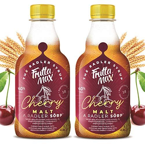 FruttaMax Radler SÖRP Bier Sirup | Fruchtsirup mit Sauerkirschbier Geschmack | mit Isoglucose und Süßstoff | mit reduziertem Kaloriengehalt 2erPack(2x330ml)