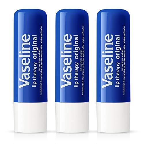 Vaseline Lip Therapy Original   Protetor labial com geleia de petróleo para fornecer aos seus lábios a melhor hidratação e umidade essencial para tratar rachados, secos, descascados ou lábios rachados; 0,473 g (pacote com 3)