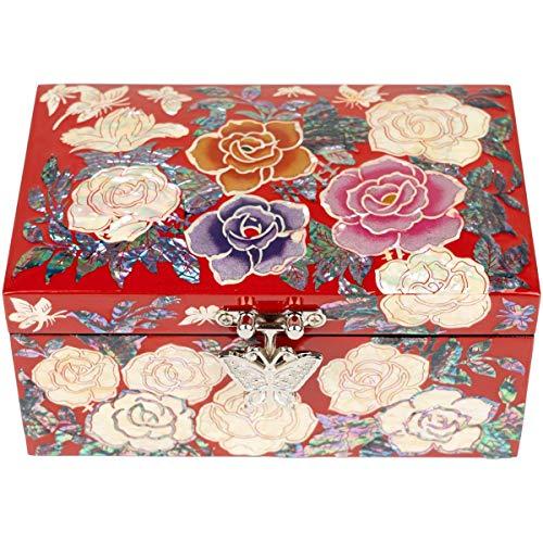 February Mountain Caja organizadora de joyas de dos capas con rosas y mariposas, color rojo