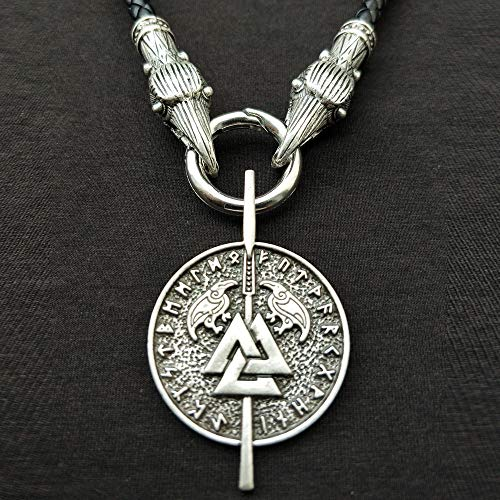 JIAORLEI Foreign Trade Explosion Viking Odin's Spear Rune Necklace Amulet Pendant Men's Pendant Nordic Triangle Knot Jewelry