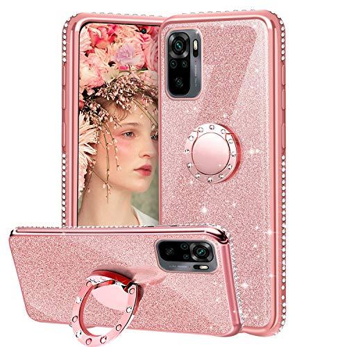 Funda para Xiaomi Redmi Note 10 4G, Glitter Brillante Diamante con 360 Grado Anillo Kickstand Ultra Delgada Premium Fina Resistente Silicona TPU Doble Capa Choques Protectora Carcasa - Oro Rosa
