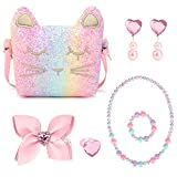 Mibasies Purse for Little Girls Dress Up Jewelry Pretend Play Kids Accessories Cat Gift