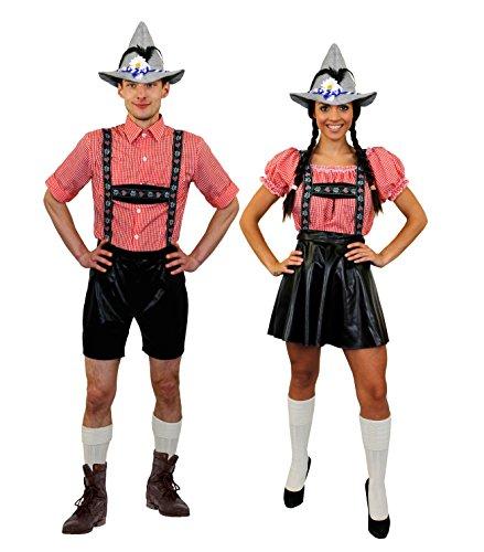 I LOVE FANCY DRESS LTD Oktoberfest BAYRISCHES Paare KOSTÜM VERKLEIDUNG+SEPPEL/Filz Hut= DIRNDEL Lederhosen Look+ BIERHUT=BIERFESTE= Trachten VOLKSFESTE Fasching Karneval=MÄNNER-SMALL+Frauen-XXLarge