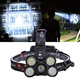 Oumefar Equipo para Montar en Bicicleta Luz LED para Bicicleta Luz de Casco para Montar en la Noche Luz Frontal con Zoom Pesca Nocturna y(Set of 2 Batteries + Direct Charge + Probe Box)