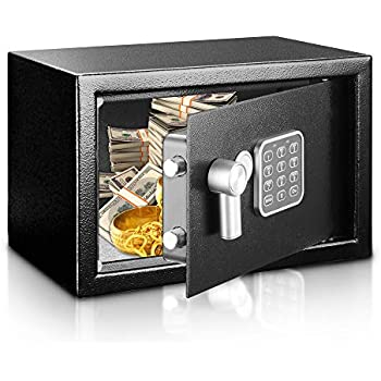 Stash Safe Safe and Lock Box - Safe Box, Safes And Lock Boxes, Money Box, Safety Boxes for Home, Digital Safe Box, Steel Alloy Drop Safe, Includes Keys- SereneLife SLSFE14