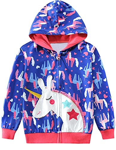 EULLA Sudadera con capucha para niña, con cremallera, 1-7 años, 92-122, 1# Unicornio Morado, 110 cm